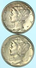 2 Coins: 1943-S & 1945 Mercury Dimes 90% Silver Pre 1965 US Coin Lot E775