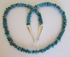 "Native American Navajo Sterling Turquoise Nugget Necklace 24"" Eva Begay"