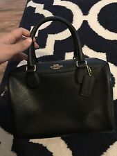 New Coach F57521 F32202 Mini Bennett Leather Satchel Handbag Crossbody Bag Black