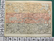 1908 LONDON ENVIRONS TRAVELLER MAP ~ CENTRAL LONDON CITY PARKS STATIONS THAMES