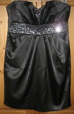 LOVE Tease  Black Strapless Mini dress Empire Beaded Size 5 small