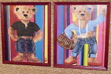2 CADRES - ROUGE - OURS ET OURSE - JEAN - TEDDY - BEAR