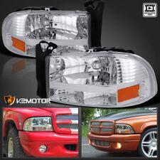 1997-2004 Dodge Dakota/Durango 1Pc Chrome Front Headlights Pair Replacement