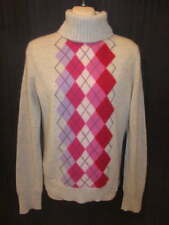 Express 100% Cashmere Gray Pink Argyle Turtleneck Sweater L May fit M