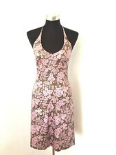 J Crew Dress Halter Pink Brown Floral 100% Cotton Fully Lined Petite 4 - 4P
