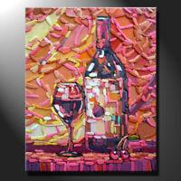Original mosaic artwork porcelain wine bottle glass still life art GeeBeeArt