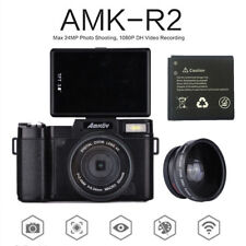"AMKOV 24MP HD Digital Camera 3"" Rotatable Screen Video Recording Wide Lens Black"