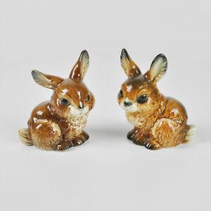 Goebel 34816-09 / 34815-09 Pärchen Hasen (Hase) Kaninchen / Porzellan Figur 9cm