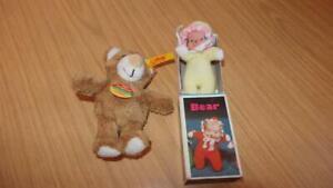 AZ50: Steiff Key Ring Bear 110160 & Beenie Bear in Matchbox
