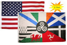 3x5 3'x5' Wholesale Set (2 Pack) USA American & Celtic Nations Flag Banner
