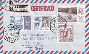 SPAIN 1986 REGISTERED COVER TO CANADA !! A31