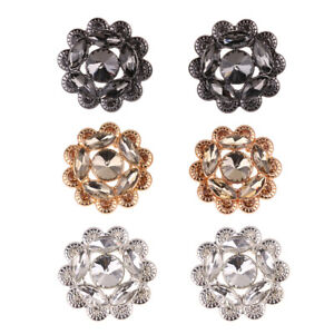 Crystal Rhinestone Flower Embellishments Sew on Snap Buttons Clip Craft Fastener
