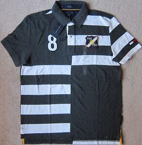 RS TOMMY HILFIGER (Grey/White) PREMIUM Striped Polo Shirt Mens NWT $52.50