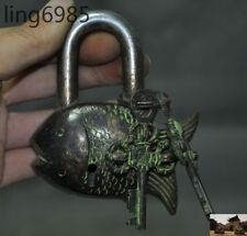 Collect Old Chinese Fengshui Bronze Wealth Fish Statue Ancient Lock & Key Set