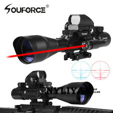 Tactical 4-12X50EG Rifle Scope + 1X22X33 Holographic Dot Sight + Red Laser JG8