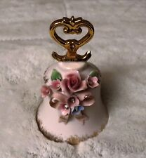 1956 L&M Porcelain Pink Bell with Flowers and Gold Tone