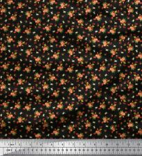 Soimoi Fabric Leaves, & Rose Floral Printed Fabric 1 Yard - FL-2049A