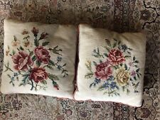 Pair Vintage handmade  NEEDLEPOINT TAPESTRY throw PILLOWS roses & hummingbirds