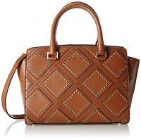 NWT MICHAEL KORS Selma Medium Diamond Grommet Leather Satchel Purse Luggage $498