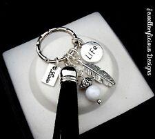 Beautiful LOVE LIFE Feather Tassel AB Bead  Keyring Key Ring
