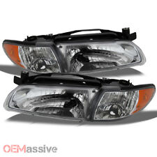 Fits 97-03 Grand Prix 2/4Dr Amber Chrome Headlights Front Lamps Replacement Pair