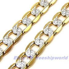 """3pcs Wholesale 23.6""""6mm26g REAL STYLISH 18K YELLOW WHITE GOLD GP CURB NECKLACE"""
