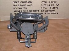 12 Duke # 4 Rubber Jaw 4 Coil Spring Traps  Beaver Coyote Wolf Trapping 0505