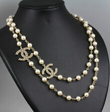 CHANEL Coco Mark Pearl Long Necklace Gold Tone 2way #37717 free shipping