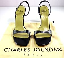Charles Jourdan Slingback Sandal Heels Womens Black Leather Size 7 M