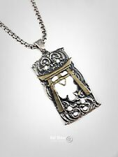 and Brass Pendant by Ezi Zino Vintage Torii Japanese Gate Sterling Silver 925