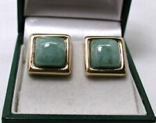 Super Quality Pair of Heavy 9 carat Gold And Jadeite Earrings