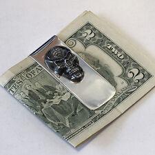 Money Clip Sterling Silver SKULL 3D Collectible Unique oxidized