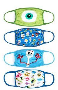 Disney Store Re-useable Face Coverings Masks Pixar 4 Pack Medium Large