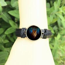 mm Glass Cabochon Leather Charm Bracelet Northern Lights Wolf Black Bangle 20