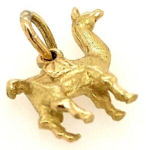 "18K Yellow Gold Llama 3/4"" Charm Pendant 2.58 Grams 750"