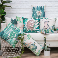 Watercolor Aloe Forest Trees Rabbit Sloth Cat Cactus Cushion Cover Pillow Case