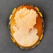 VINTAGE HAND-CARVED SHELL CAMEO - PIN OR PENDANT - SILVER with MARCASITE BEZEL