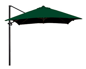 8Ft Polyester Square Cantilever Steel Market Umbrella in Polyester Hunter Green