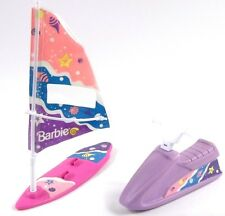 Barbie Mattel 1991 Pink Wind Surfing Board & Purple Wave Runner Plastic Toys