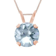 Cyber Monday  Blue Aquamarine Solitaire Pendant Necklace 10K Rose Solid Gold