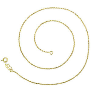 18k Yellow Gold F 40cm 16'' Wan Zi Necklace 1mm solid chain for pendant AUS MADE