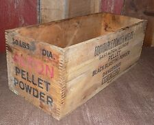 Vintage Equitable Black Pellet Powder MFG Wooden Wood Box Crate East Alton IL