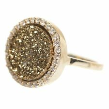 Gold Finish Sterling Silver Brown Druzy Quartz Womens Right Hand Ring (9)