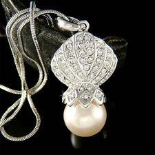 w Swarovski Crystal ~Pearl Seashell~ Beach wedding Marine Charm Pendant Necklace