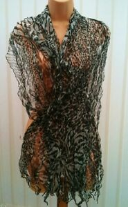 LONG ANIMAL PRINT 100% SILK RUFFLE DRESS SCARF BLACK RED PURPLE BNIP