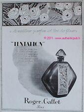 PUBLICITE PARFUM TENTATION ROGER & GALLET DE 1926 FRENCH ADVERT PERFUME PUB