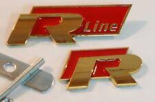 24ct vergoldet VW R Line rot Frontgrill hinten Heckklappe Emblem 24K Gitter