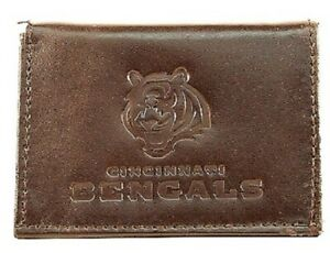 CINCINNATI BENGALS, BROWN LEATHER TRI-FOLD WALLET FROM RICO INDUSTRIES