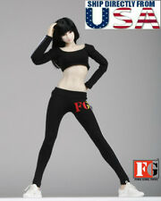 """1/6 Sport Gym Tracksuit Sneakers Set BLACK for 12"""" Hot Toys PHICEN Figure U.S.A."""
