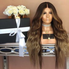 Women Brown Synthetic Lace Front Wig Long Wigs Wavy Full Wigs Curly Lolita UK